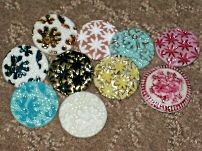 Chanel 10 Ceramic  Buttons  28 Mm / Over 1'' New Lot 10 No Cc Logo Mixed Colors