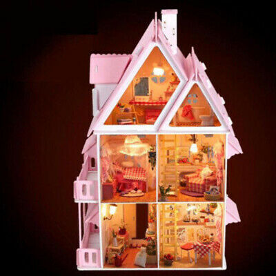 Dollhouse Wooden Pretend Play House Doll Mansion W/ Furniture Girls Toys