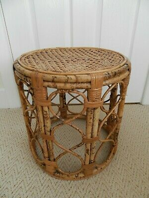 Vintage Bamboo Cane Wicker Weave Seat Stool Side Table Plant Stand ~Free UK Post