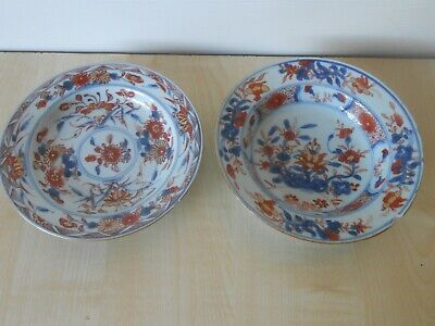 18th Century Chinese Kangxi Bowls/Plates In Imari Pattern