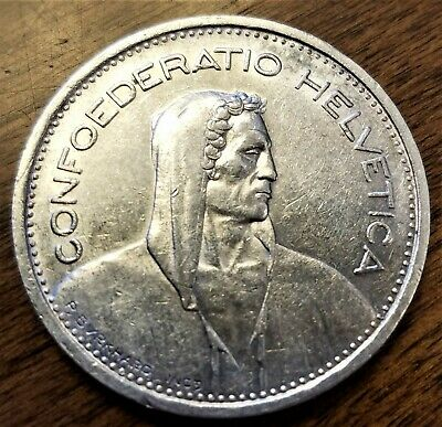 Switzerland 1953-B 5 Francs Collectible Extra Fine Silver (0.8350) World Coin -a