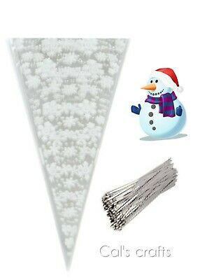 Cello Party Cookies Bags Sweet Cone SNOWFLAKE Frozen Candy Silver Twist Tie XMAS