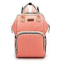 Pink back pack diaper bags with diapers, wipes, and accessories