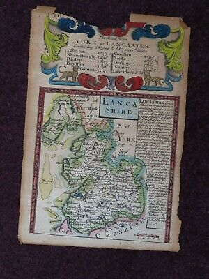 1720 Ogilby Map The Road From York To Lancaster Lancashire Colour County Map
