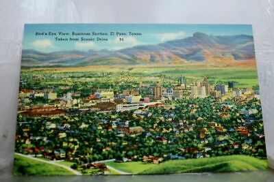 Texas TX El Paso Business Section Bird's Eye Postcard Old Vintage Card View PC