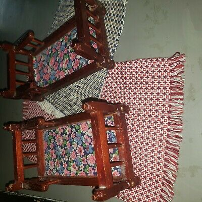 Vintage Dollhouse wooden furniture -- twin kids bed or bunk bed