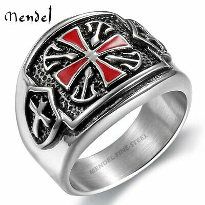 MENDEL Stainless Steel Mens Knights Templar Crusader Cross Ring Band Size 8-15