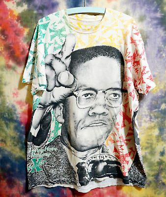 90s Malcolm X All Over Print T Shirt 3X Any Means Necessary Screen Stars VTG