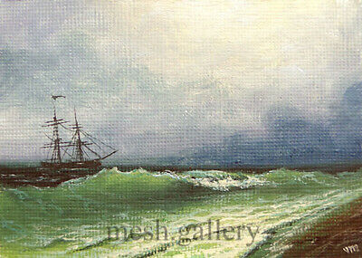 "02- 5""x 7"" CANVAS FINE ART PRINT SEASCAPE Gift MESH Cloudy OCEAN Atlantic Coast"