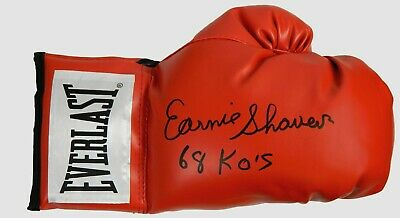 Boxer Earnie Shavers Signed 68 KOs Everlast Right Hand Boxing Glove Autographed
