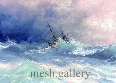 "22 - 5""x7"" CANVAS GICLEE ART PRINT SEASCAPE STORM Ship Atlantic Ocean WAVES MESH"