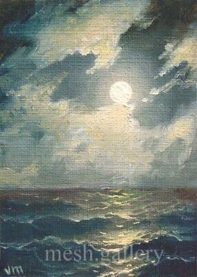 "32 - 5""x7"" CANVAS GICLEE FINE ART PRINT SEASCAPE Moonlit Night Black Sea WAVES"