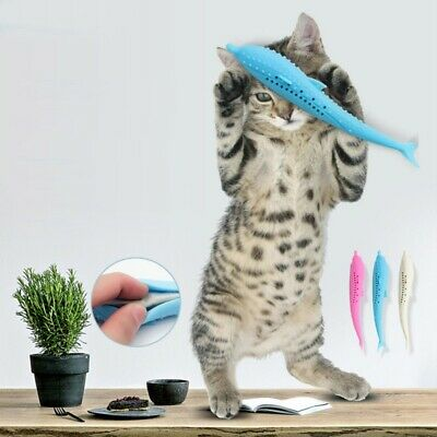Pet Cat Toothbrush With Catnip Cat Silicone Molar Stick Cat Teeth Cleaning Toys