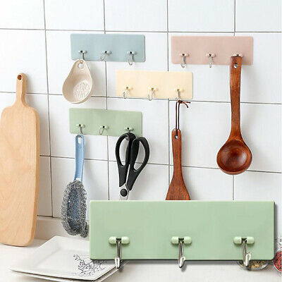 Home Self-adhesive Wall Hook Hanger Bathroom Kitchen Towel Cooking Tool Holder