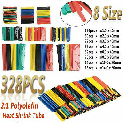 328PCS Heat Shrink Tubing Insulation Shrinkable Tube 2:1 Wire Cable Sleeve Kit
