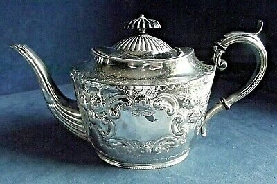 GOOD Victorian ~ SILVER Plate ~ ORNATE Engraved TEAPOT ~ c1890 ~ Harrison Fisher