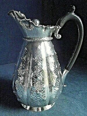 GOOD Ornate ~ SILVER Plated ~ FLUTED Juice / Water JUG ~ c1890 by Lee & Wigfull