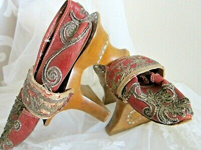Antique Chinese Shoes with Embroiderd & Inlaid Wooden Platforms