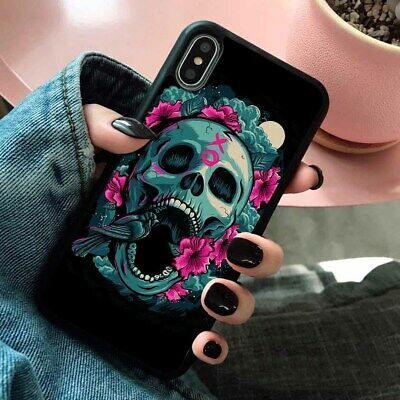 SKULL ROSE Flower Floral Silicone Phone Cover Case for iPhone Samsung