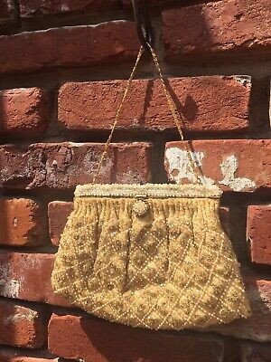 Vintage 1950s gold, faux pearl, glass rhinestone evening beaded purse AS IS