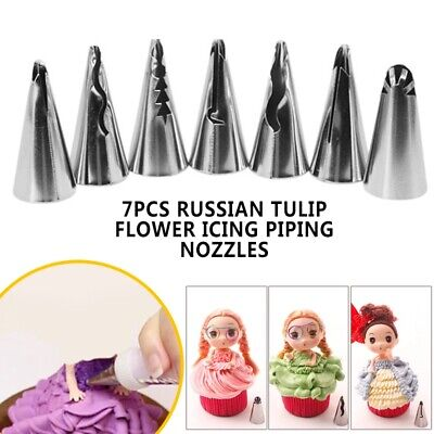 7Pcs Russian Tulip Flower Icing Piping Nozzles Cake Decoration Baking Tool