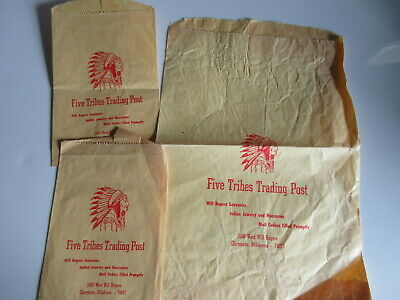 lot of 3 vintage GIFT BAGS - FIVE TRIBES TRADING POST Claremore, OK Oklahoma