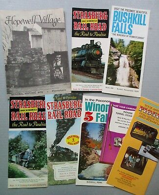 Lot Of 13 Pennsylvania Vintage Travel Brochures Stratsburg Rr Wiona Falls Magee
