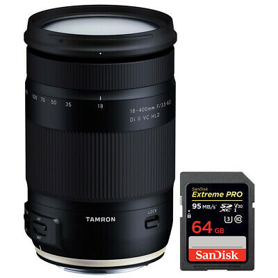 Tamron 18-400mm f/3.5-6.3 Di II VC HLD Lens for Canon Mount w/ 64GB Memory Card