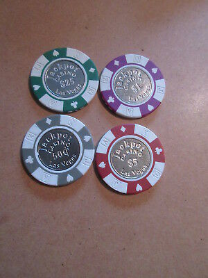 JACKPOT CASINO Las Vegas Nevada LOT of 4 POKER BLACKJACK CHIPS $25 $5 $1 .50