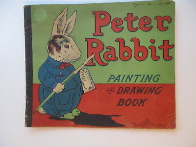 VINTAGE PETER RABBIT PAINTING & DRAWING BOOK 1917 SAALFIELD PUBLISHING rare