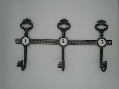 "Cast Iron Key Hook Rack Wall Mount 13""  porcelain numbers vintage repro"