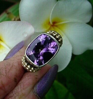 14K Solid Yellow Gold & Sterling Silver AMETHYST Checkerboard Cut RING Sz 7 SALE