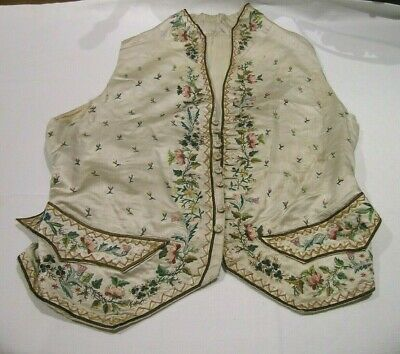 18thc Hand Embroidered Ivory Silk Waistcoat a/f (2)