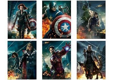 Avengers Assemble: Iron Man Thor Black Widow A5 A4 A3 Textless Movie DVD Posters