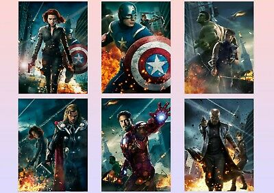 Avengers Assemble: Captain America, Hawkeye  A5 A4 A3 Textless Movie DVD Posters