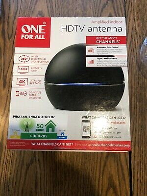 One For All HDTV Antenna 16662 Amplified Indoor TV Antenna - 50 mile range