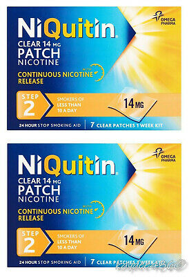 2 Packs x NiQuitin 14mg Clear 24 Hour 7 Patch Step 2. (Total 14 Patch) FREEPOST