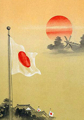 """perfect oil painting handpainted on canvas """"Japanese flag and rising sun """"@N5064"""