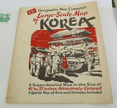 Vtg Korea Geographia Map Large Scale 41X27 Asia Formosa Included Ca 1946 A Gross