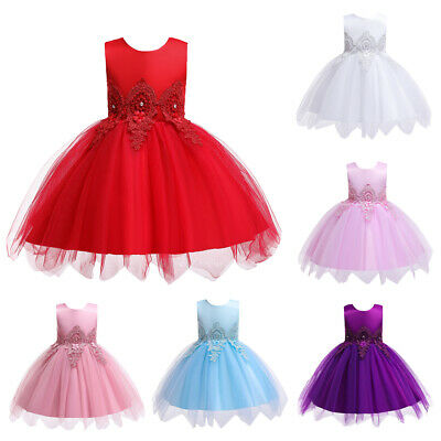 Flower Kids Baby Girls Ball Gown Princess Party Dress Birthday Pageant Dresses