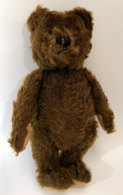 """SWEET 1950's VINTAGE OLD STEIFF MOHAIR TEDDY BEAR NO BUTTON TAG 9"""" ANTIQUE"""