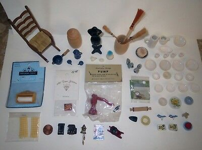 Antique Dollhouse HUGE LOT -  MINIATURE FURNITURE & ACCESSORY Collection