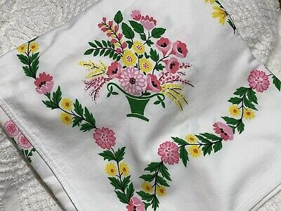 """Vintage Tablecloth Cotton Pink Yellow Green Flower Basket 52 x 57"""""""