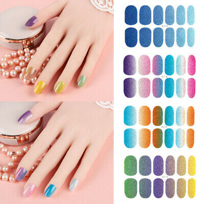 Glitter Powder Nail Stickers Wraps DIY Decal Color Full Cover Manicure Charm Acc