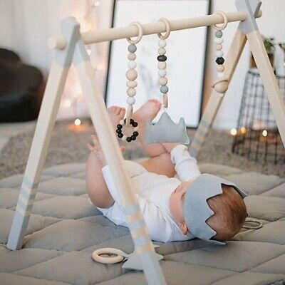 Baby Play Wooden Stand Nursery Hanging Fun Toys Mobile Wood Rack Activity Gym