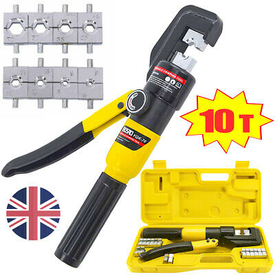 10 T 8 Dies Hydraulic Crimper Crimping Tool Battery Cable Wire Lug Tube Terminal