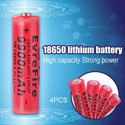 4x 18650 9900mAh Li-ion 3.7V Rechargeable Battery for LED Flashlight Torch BC940