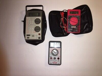 Lot of 3 Vintage Multimeters Radio Shack Micronta, Craftsman and Cen-Tech Tested