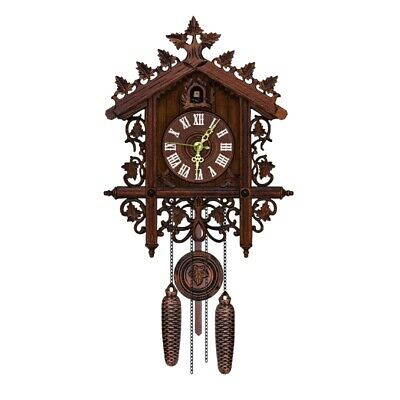 Retro Vintage Wall Clock Hanging Handcraft Wooden House Style Clocks Home Decors