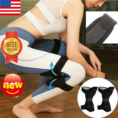 1Pair Knee Brace Sports Protector Powerful Stabilizer Pad Lift Support Rebound